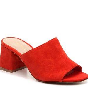 Red Aldo mules
